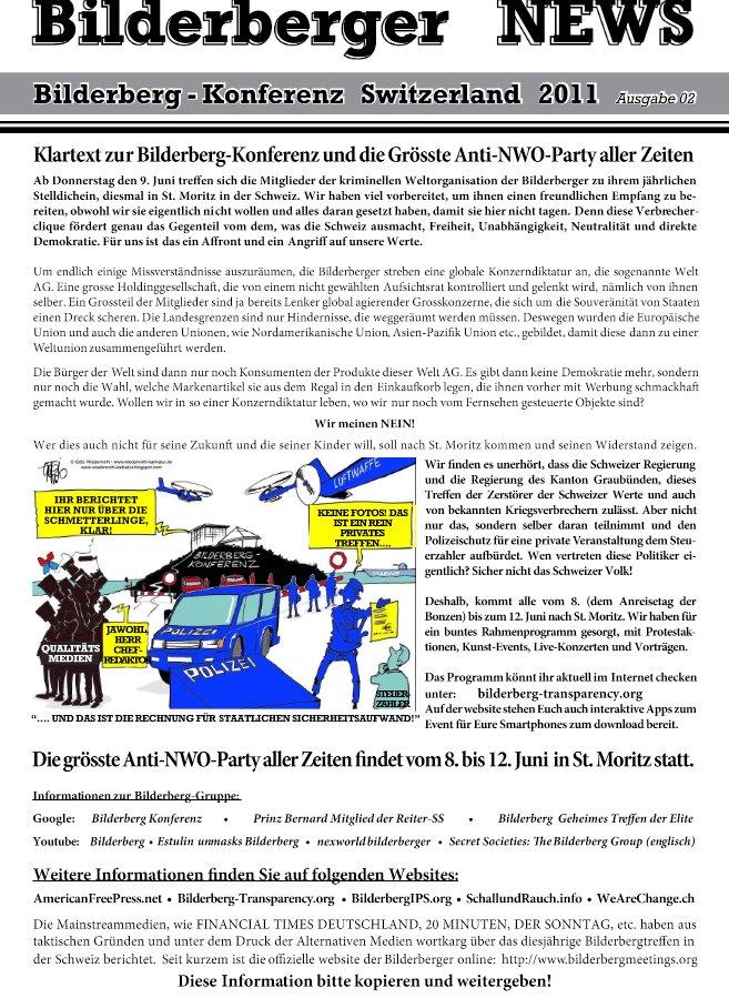 Flugblatt gegen Bilderberger